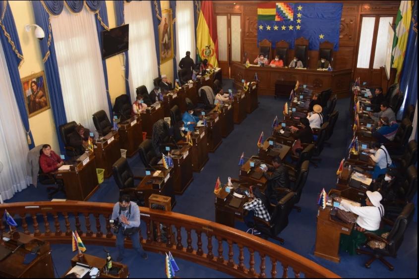 La última sesión del Senado fue presidida por la masista Eva Copa / TWITTER