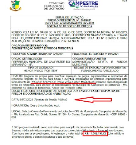 Prefeito Fernando Bermuda tá disposto a gastar R$ 1,6 milhões de reais com peças e serviços de veículos e máquinas, isso daria pra comprar cerca de 25 veiculos novos com 3 anos de garantia!!!