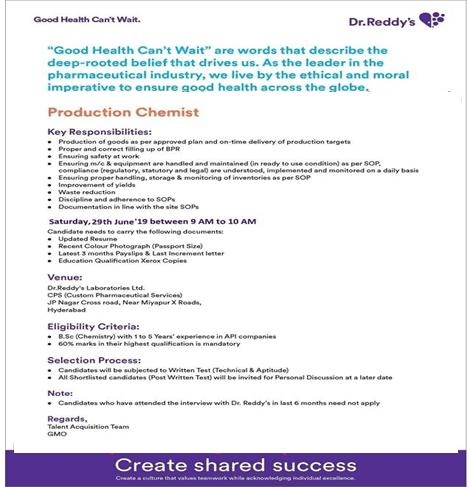 Pharmaceutical Industry Jobs News: June 2019