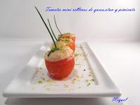 tomates mini rellenos con queso y atún