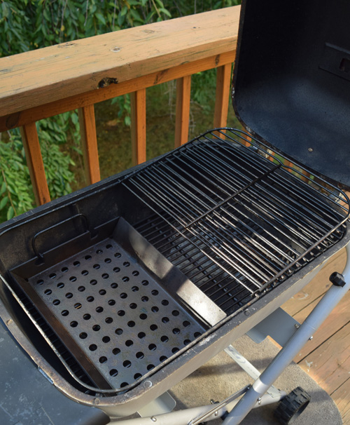 Setting up the PK Grill to cook gyros
