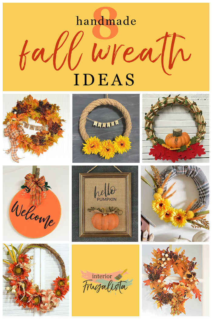 These eight budget-friendly ideas for a handmade wreath for Fall are made with either recycled materials, thrift store scores, or dollar store finds. #fallwreathsdiy #fallwreathideas