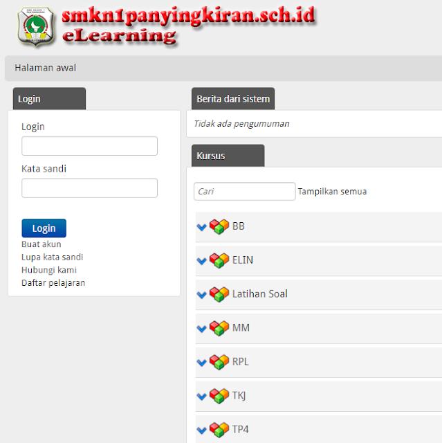media elearning di web sekolah SMKN 1 Panyingkiran