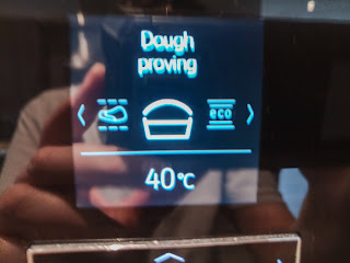 Photo of oven setting showing dough proving at 40 degrees C.