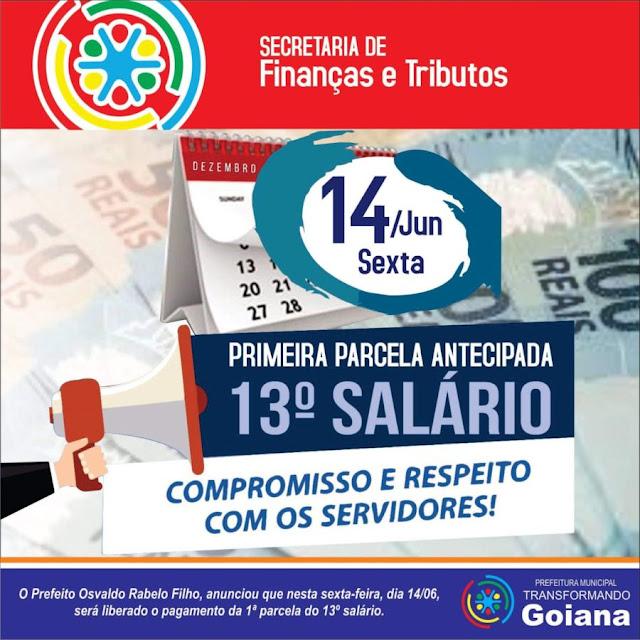Prefeitura de Goiana antecipa pagamento da primeira parcela do 13º salário