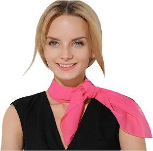Retro Pink Sheer Chiffon Neck Scarves
