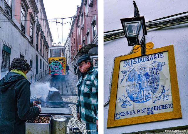 Carrocinha de castanhas portuguesas em Lisboa e um restaurante caseiro em Évora