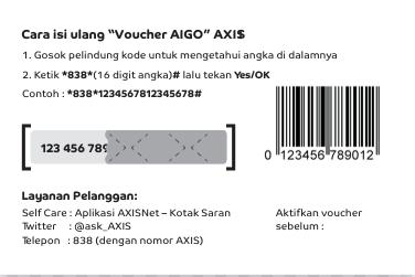 cara isi ulang dengan menggunakan voucher kuota axis aigo