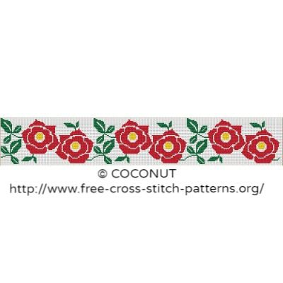 Flower border (3), Free and easy printable cross stitch pattern