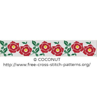 Flower border 3, Free and easy printable cross stitch pattern
