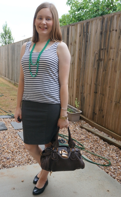 green necklace with striped tank grey pencil skirt summer heatwave office outfit chloe paddington bag | away from blue