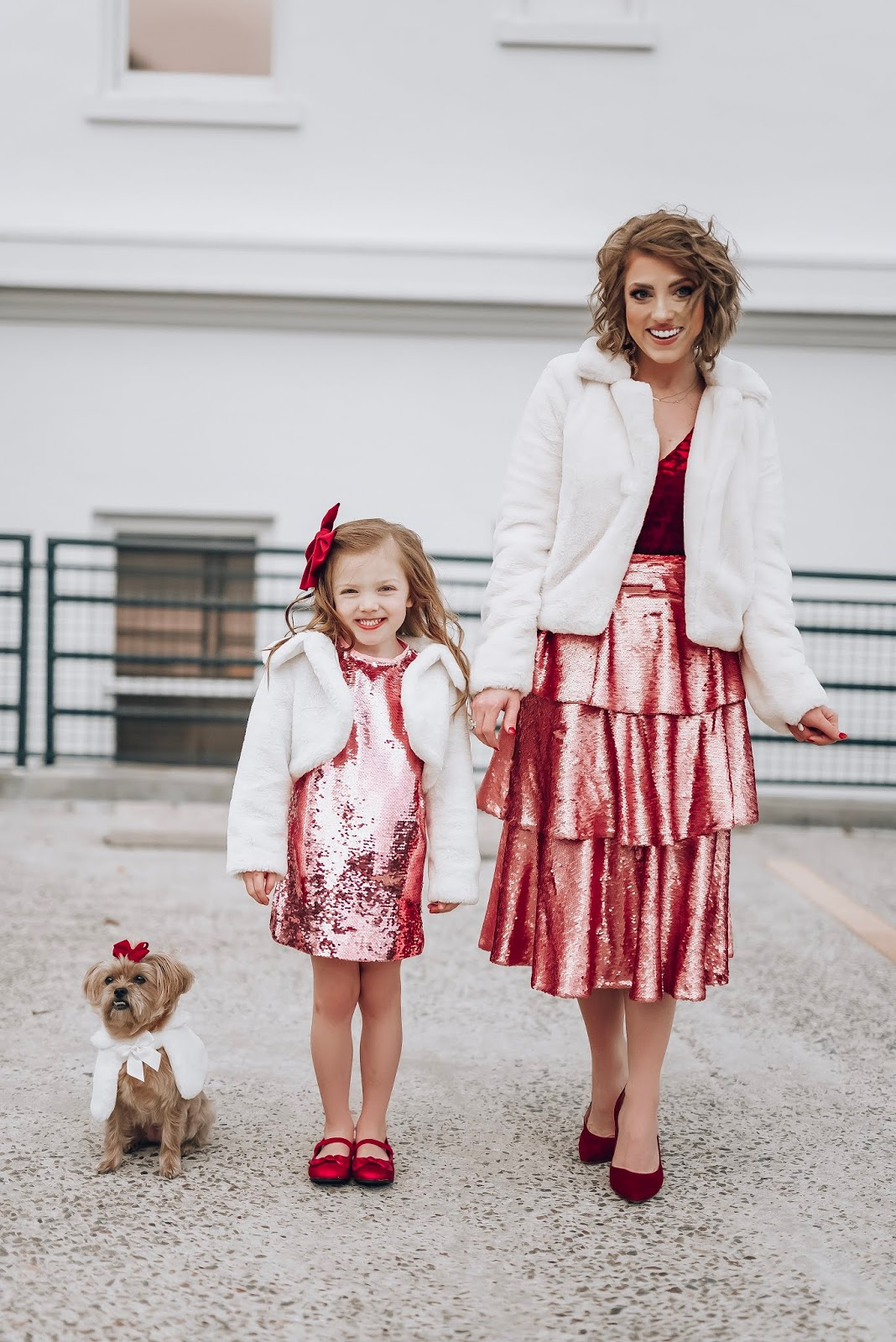 Reflecting on 2019 - NYE Style - Pink Sequins, Burgundy and white faux fur - Something Delightful Blog #NYEStyle #ReflectingOn2019 #SparkleInTheNewYear #MommyandMe