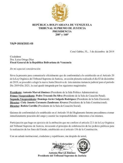 """Esta es la comunicación que posteó la exfiscal Luisa Ortega Díaz saludando a las nuevas """"autoridades"""" del autodenominado tribunal."""