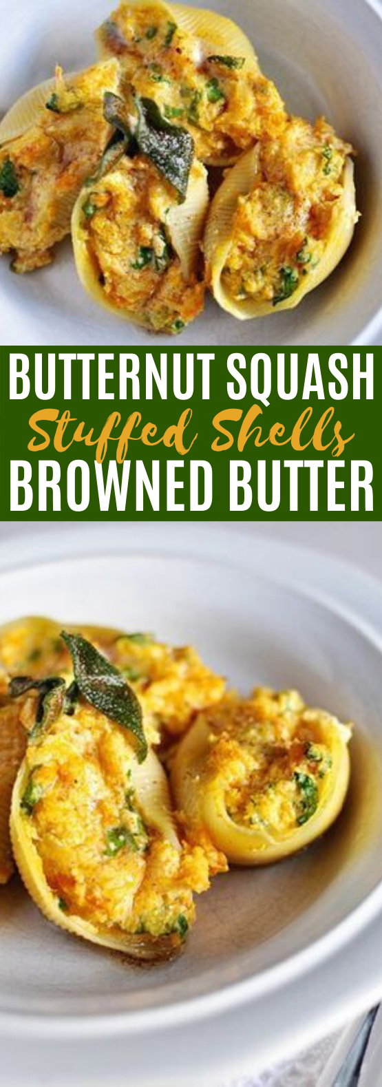 Butternut Squash Stuffed Shells with Sage Browned Butter #vegetarian #dinner #pasta #meatless #fall