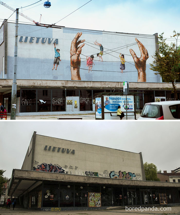 10+ Incredible Before & After Street Art Transformations That'll Make You Say Wow - Abandoned 'Lietuva' Movie Theater, Vilnius, Lithuania