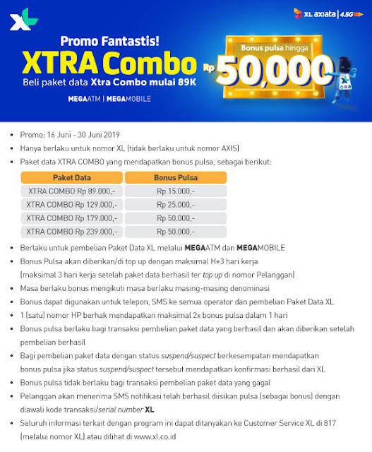 #BankMega - #Promo Fantastis XL Xtra Combo Bonus Pulsa Hingga 50K (s.d 30 Juni 2019)