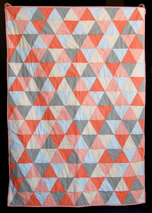 Mod Triangle Baby Quilt Free Tutorial designed by Diane & Audrey of The Cloth Parcel