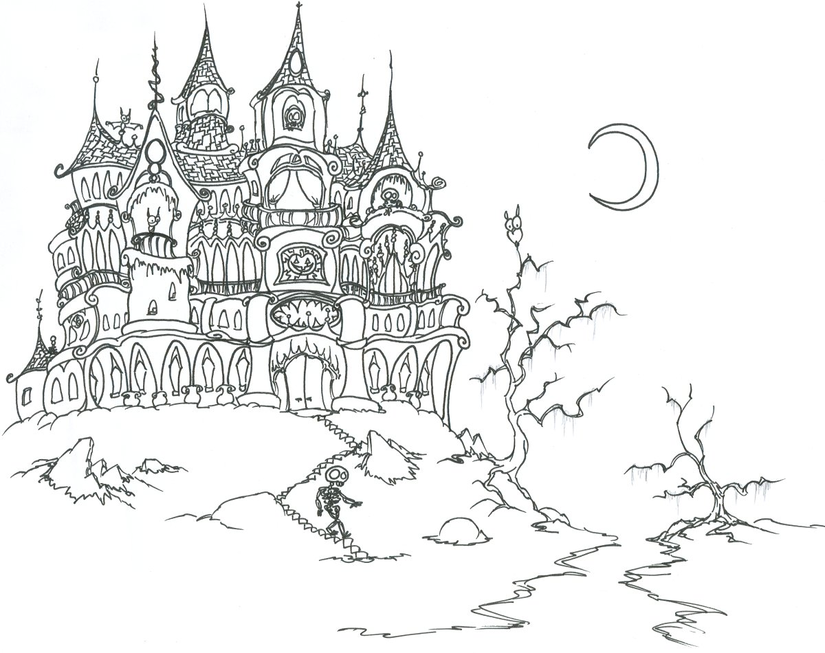 Printable halloween coloring pages: Printable Gothic