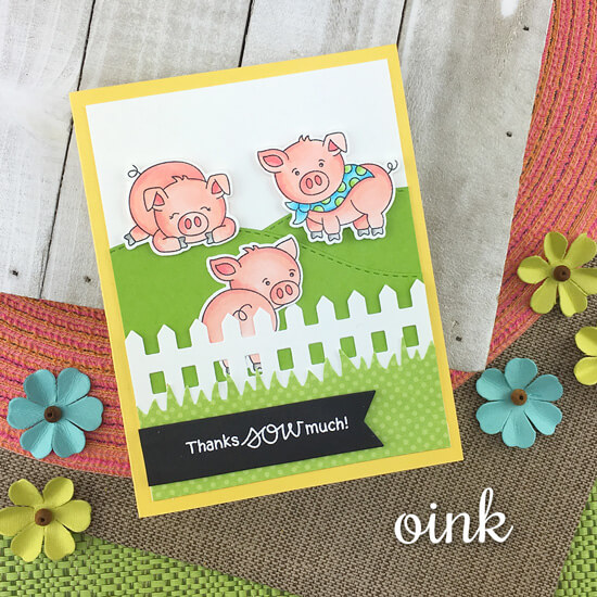 Pig Thank You Card by Jennifer Jackson | Oink Stamp Set, Fence Die Set and Land Borders Die Set by Newton's Nook Designs #newtonsnook #handmade