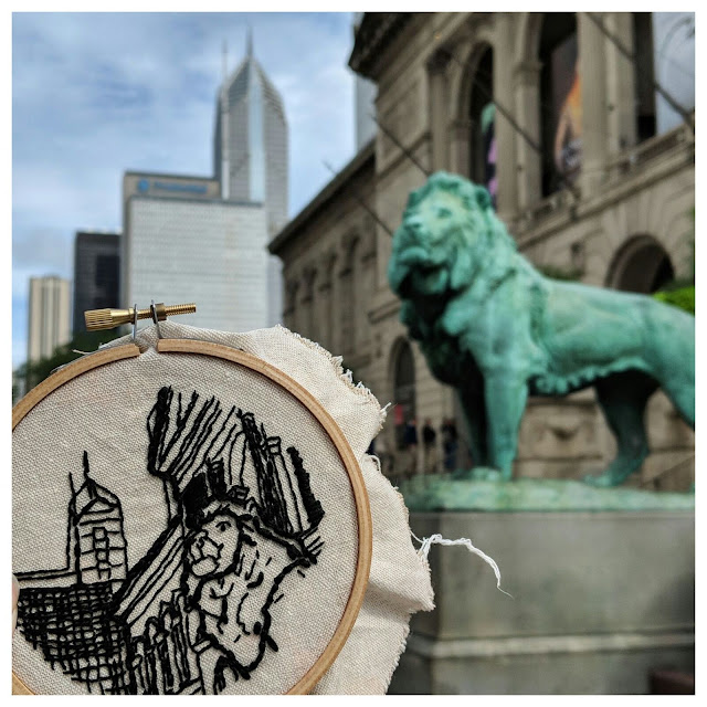 Work in progress of an embroidery hoop illustrating the exterior of the Art Institute of Chicago