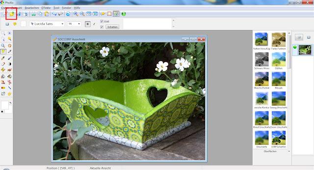 """Screenshot PhoXo mit Fotodatei und markiertem """"Öffnen"""""""