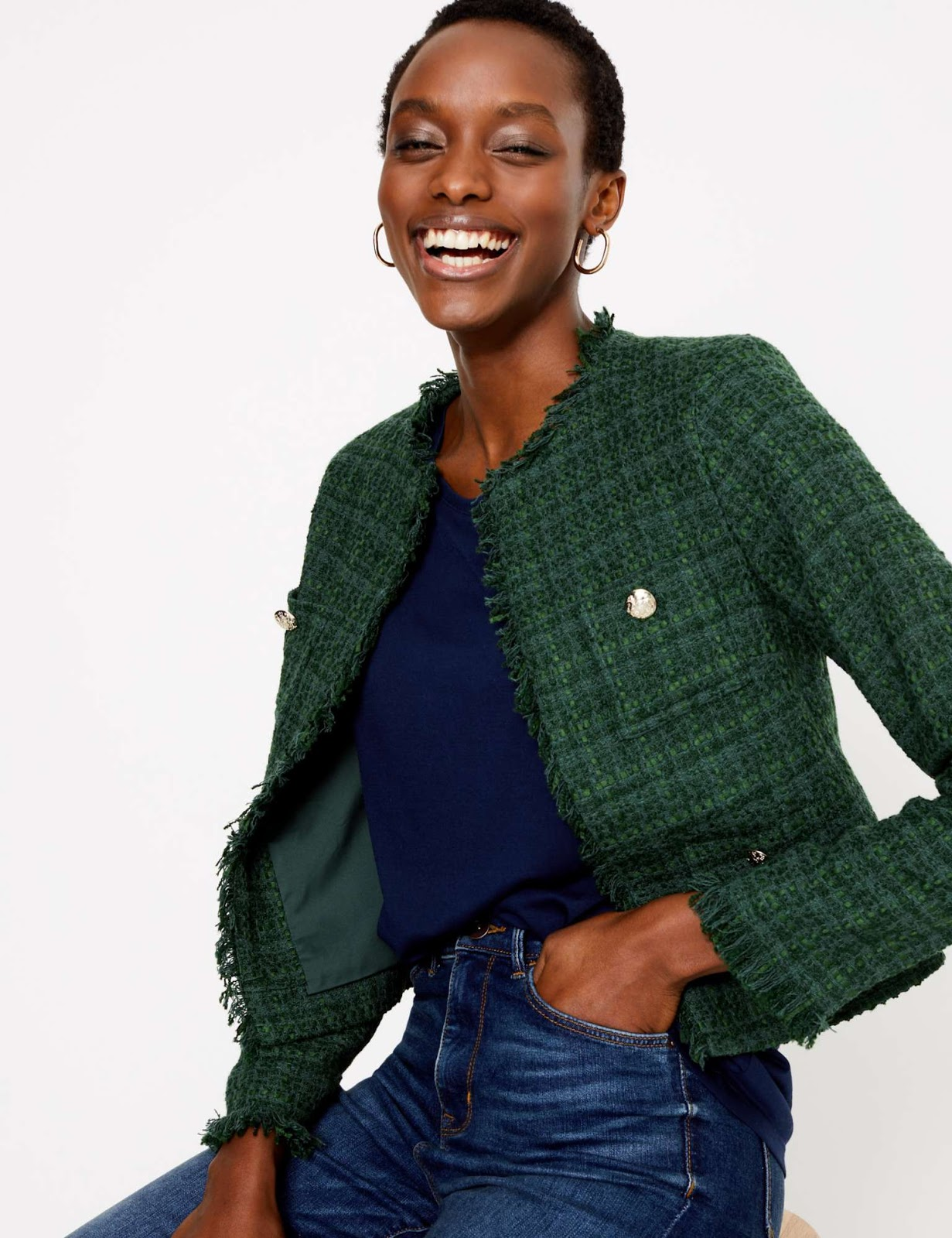 Marks and Spencer straight short tweed jacket