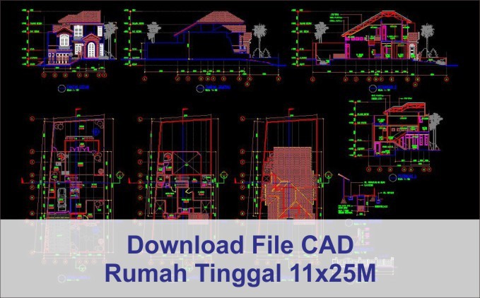 download rumah 11x25 File AutoCad