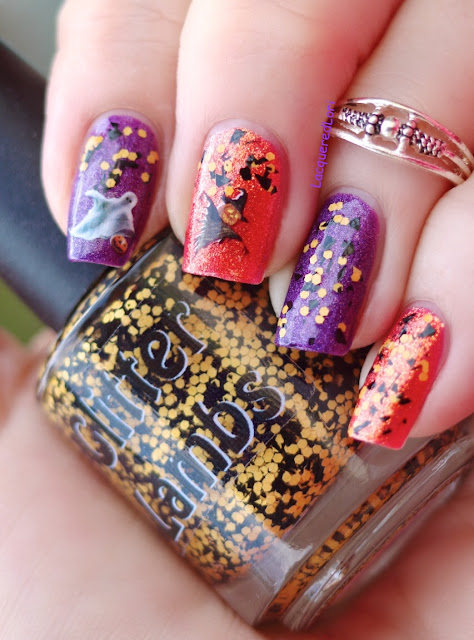 Fall Glitter Topper Nail Polishes by Glitter Lambs Nail Polish-Orange and Black Glitter
