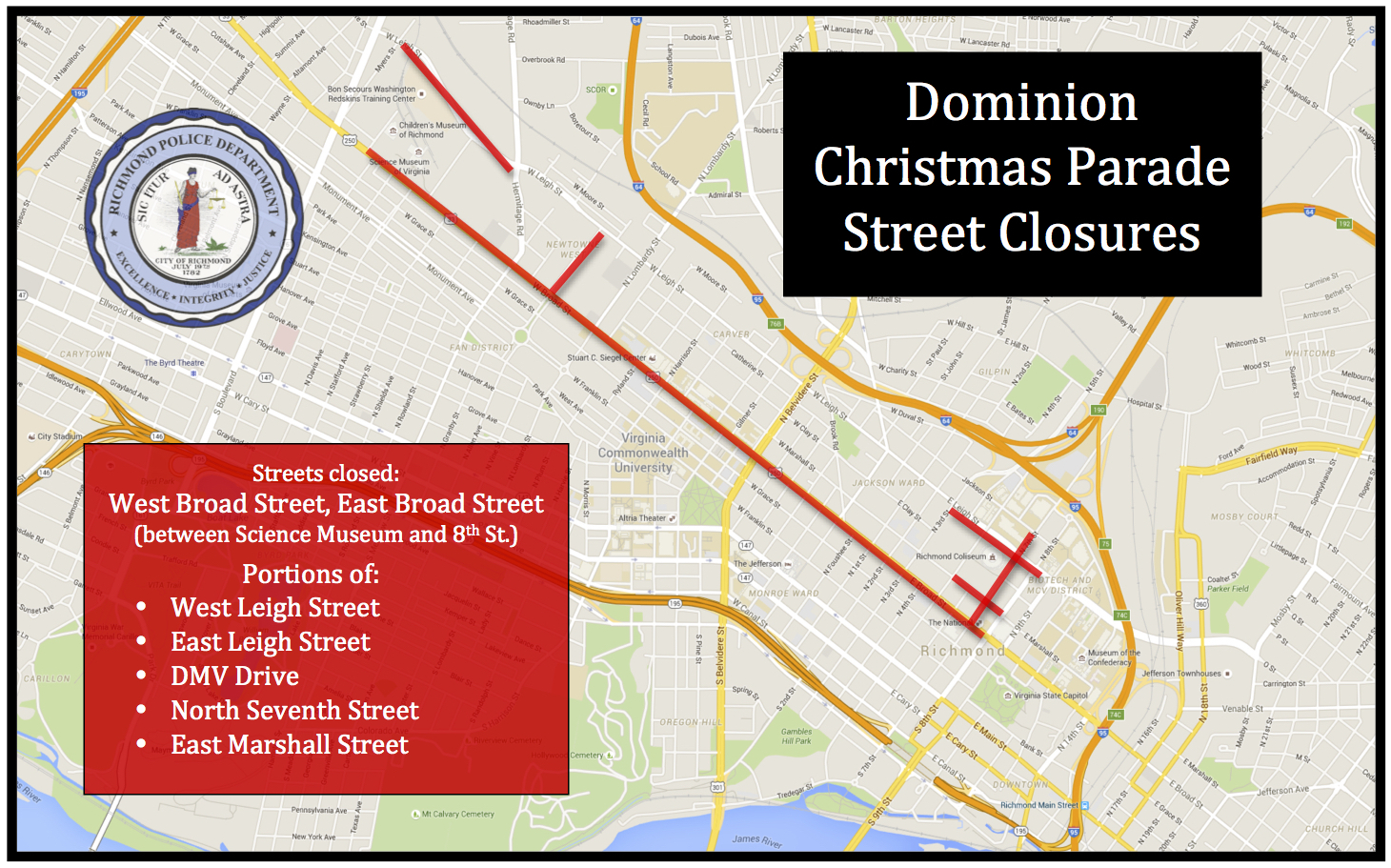 Richmond Traffic Map.Traffic Advisories In Richmond Va 2018 Dominion Energy Christmas