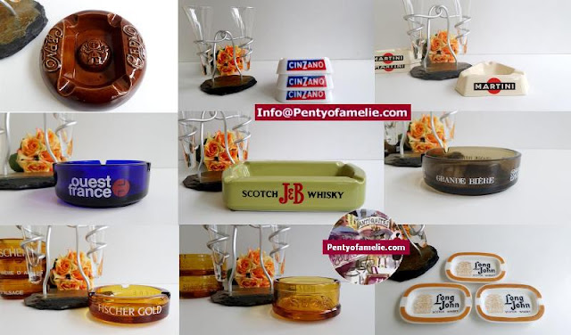 French collectible advertising smoking ashtrays in Porcelain Ceramics and multicolored glass.