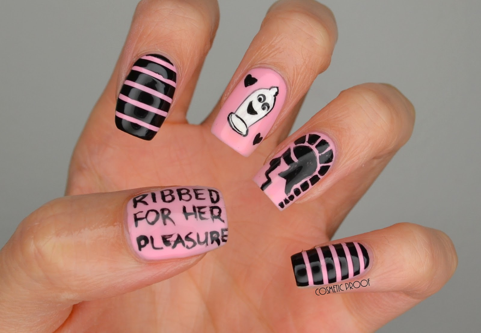 Nails trojan condom valentines day nail art cosmetic proof trojan condom nail art prinsesfo Images