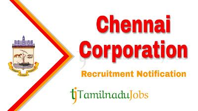 Chennai Corporation Recruitment notification 2019, govt jobs in Tamilnadu, govt jobs for graduate, tn govt jobs