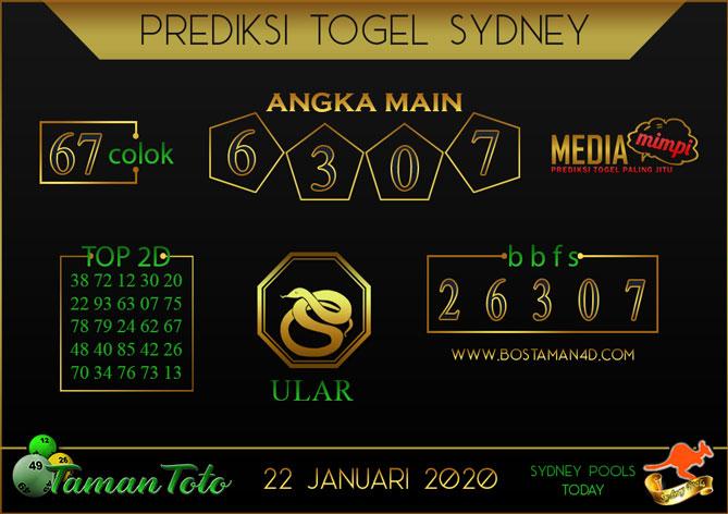 Prediksi Togel SYDNEY TAMAN TOTO 22 JANUARI 2020