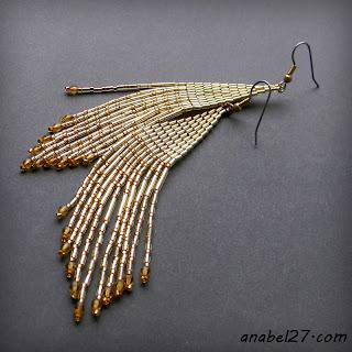 купить серьги из золотого бисера золотистые длинные сережки