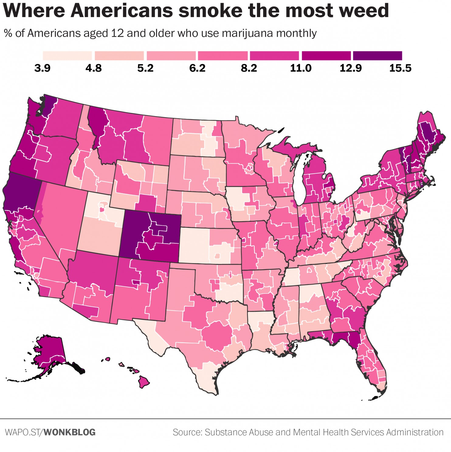 The Rural Blog Map shows marijuana use by state highest rates in