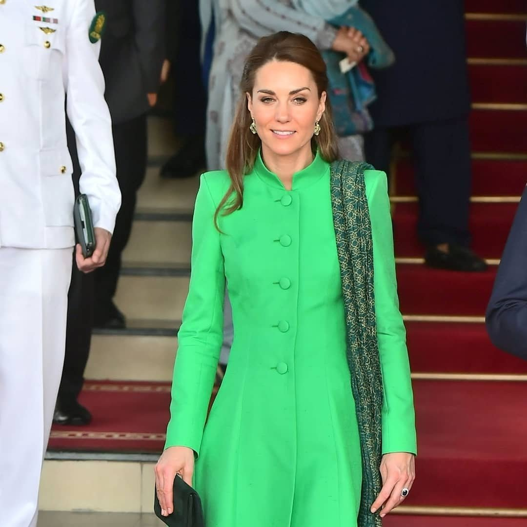 Kate stuns again in a green and white ensemble - the colours of the Pakistan flag