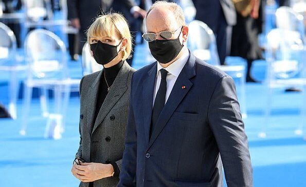 Princess Charlene of Monaco wore a double-breasted grey pinstripe jacket/blazer suit from MaxMara, Ralph Lauren, Akris and Brunello Cucinelli
