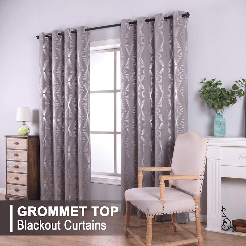 30% off REEPOW 2pcs Sliver Foil Pattern Thermal Insulated Grommet Blackout Curtains W52×L63