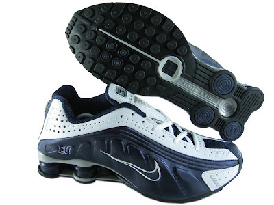 350a8fd60c02 ... Nike Shox R4 Mens White Darkblue Red ...