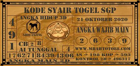 Prediksi Togel Mbahtoto Singapura Rabu 21 Oktober 2020