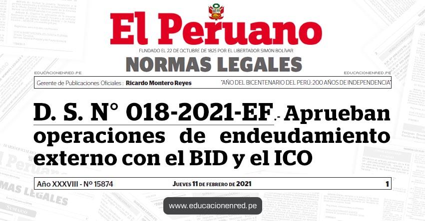 D. S. N° 018-2021-EF.- Aprueban operaciones de endeudamiento externo con el BID y el ICO