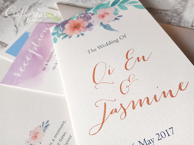 Lavender Purple Floral Pocket invitation cards at Peony Jade Restaurant Singapore