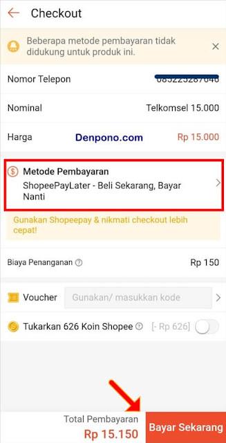 Cara Beli Pulsa Bayar Nanti Pakai ShopeePayLater