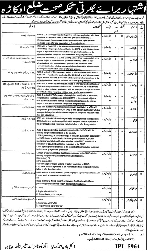 Government Jobs for MBBS Doctors in District Health Department Okara BS-18 & BS-17