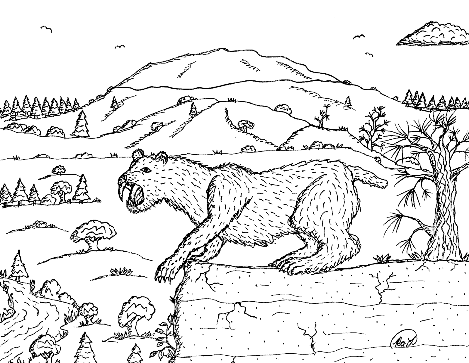 Robin S Great Coloring Pages Smilodon Saber Tooth Cats