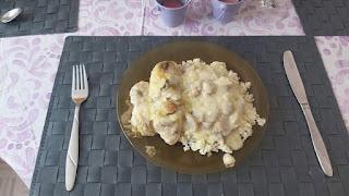 Κοτόπουλο αλά κρεμ στο φούρνο με ρύζι