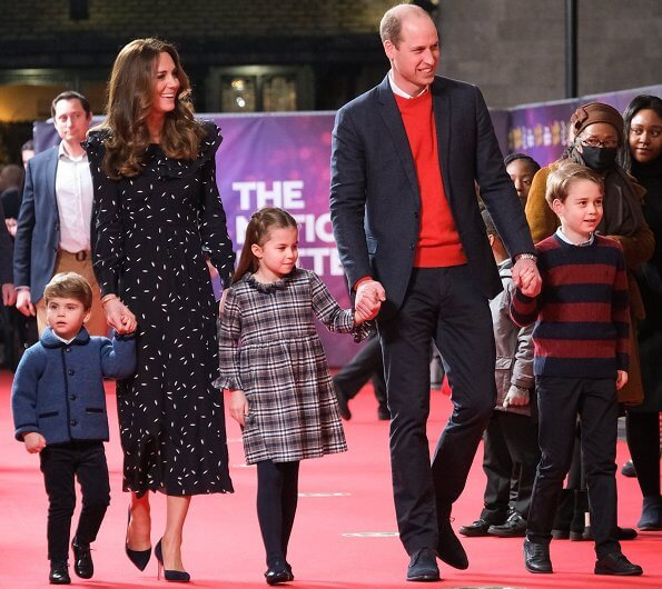 Kate Middleton wore a new petal print silk dress from Alessandra Rich. Prince William, Prince George, Princess Charlotte and Prince Louis