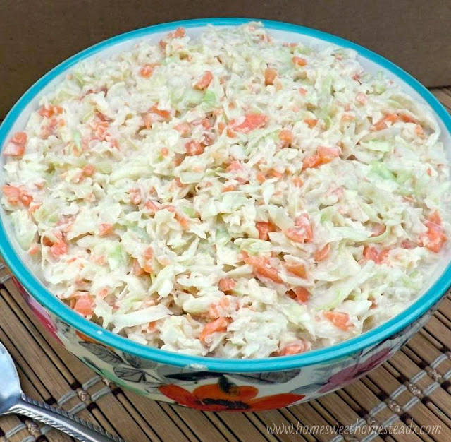 Classic Coleslaw: Home Sweet Homestead - A little sweet, a little tangy, cool and crunchy Classic Coleslaw is the perfect side dish for all your BBQs and cookouts this summer.