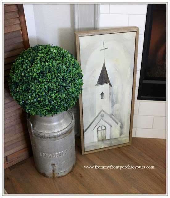 Farmhouse Fireplace-Church Painting-Spring Decor-From My Front Porch To Yours