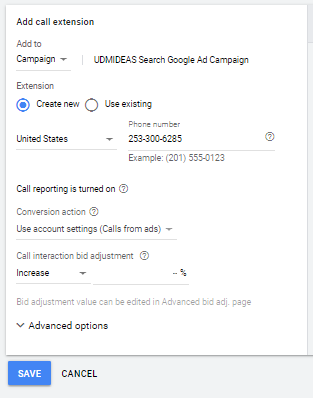 Create call extension for UDMIDEAS in Google Ad